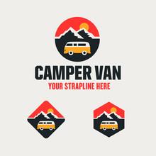 Camper Van Outdoor Adventure Travel Logo Vector Template