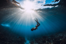 Free Diver Woman With Fins Ove...