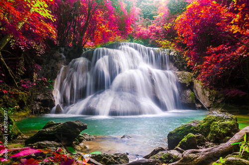 huay mae kamin waterfall in colorful autumn forest at Kanchanaburi