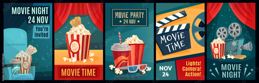 Fototapeta Cinema poster. Night film movies, popcorn and retro movie posters template. Cinematograph advertising banners, films ticket or movie show posters cartoon vector illustration set