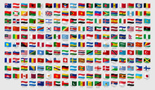 World National Waving Flags. Official Country Signs With Names, Countries Flag Banners. International Travel Symbols, Geography Or Language Lesson Flags Emblem. Isolated Vector Signs Set