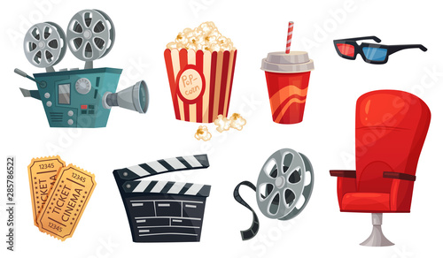 Fototapeta Cartoon cinema elements. Movie theater popcorn, filming cinema clapperboard and retro film camera. Cinema chair, 3d glass, drink and movies premiere ticket cinematography vector illustration set obraz