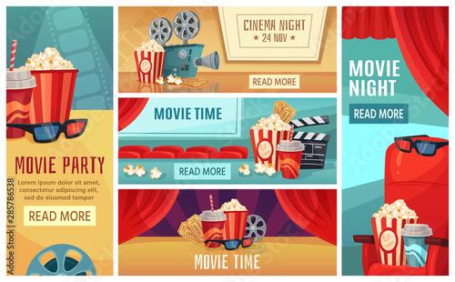 Cartoon Cinema Banner Movie Night Tickets Cinemas Popcorn