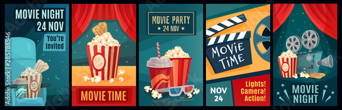 Fototapeta Cinema poster. Night film movies, popcorn and retro movie posters template. Cinematograph advertising banners, films ticket or movie show posters cartoon vector illustration set obraz