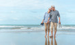 canvas print picture - Age, Travel, Tourism and people concept - happy senior couple holding hands and walking on summer beach