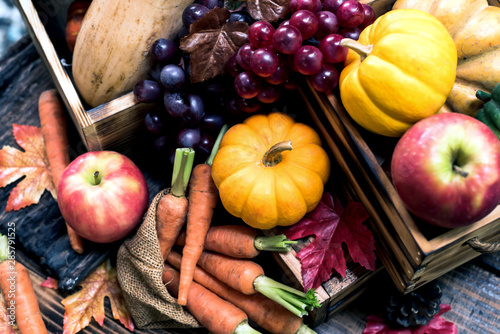 Autumn and Fall season. Harvest cornucopia and Thanksgiving day concept with fruit and vegetable. - 285791525