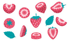 Cute Strawberry Fruit Object Collection.Whole, Cut In Half, Sliced On Pieces Strawberry. Vector Illustration For Icon,logo,sticker,printable