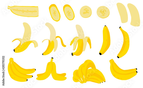 Valokuvatapetti Cute banana fruit object collection
