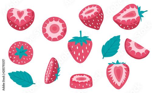 Obraz na płótnie Cute strawberry fruit object collection