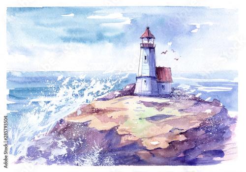 Obraz Lighthouse. Hand drawn watercolor illustration - fototapety do salonu