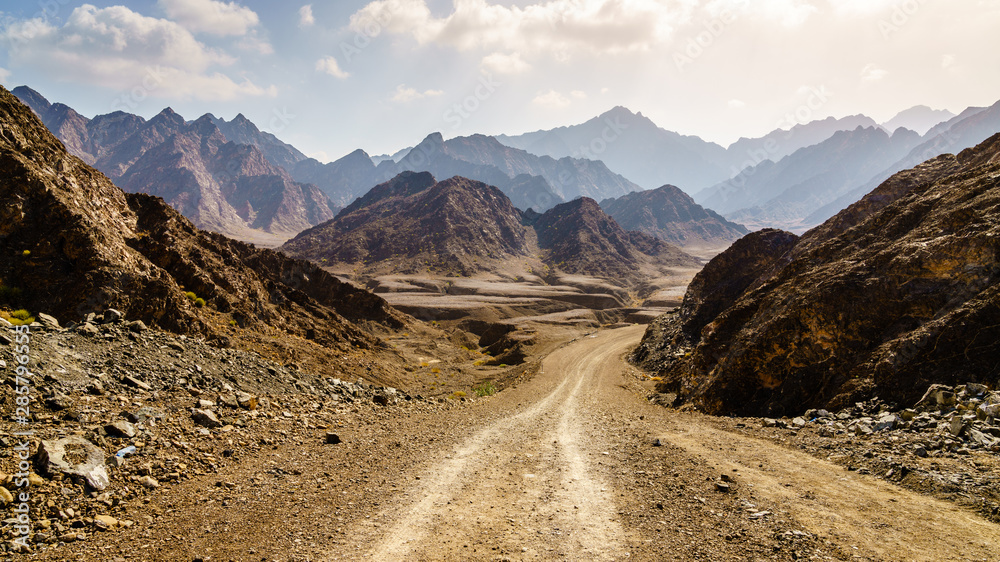 Fototapety, obrazy: Dirt road in Hajar mountains in Dubai, UAE