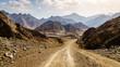 canvas print picture Dirt road in Hajar mountains in Dubai, UAE