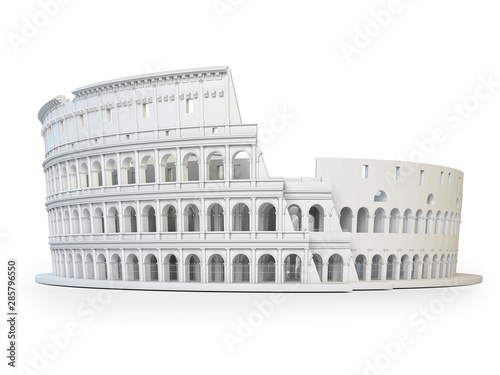 White Coliseum Colosseum isolated on white background Wallpaper Mural