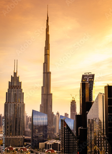 Dubai downtown skyline Fotobehang