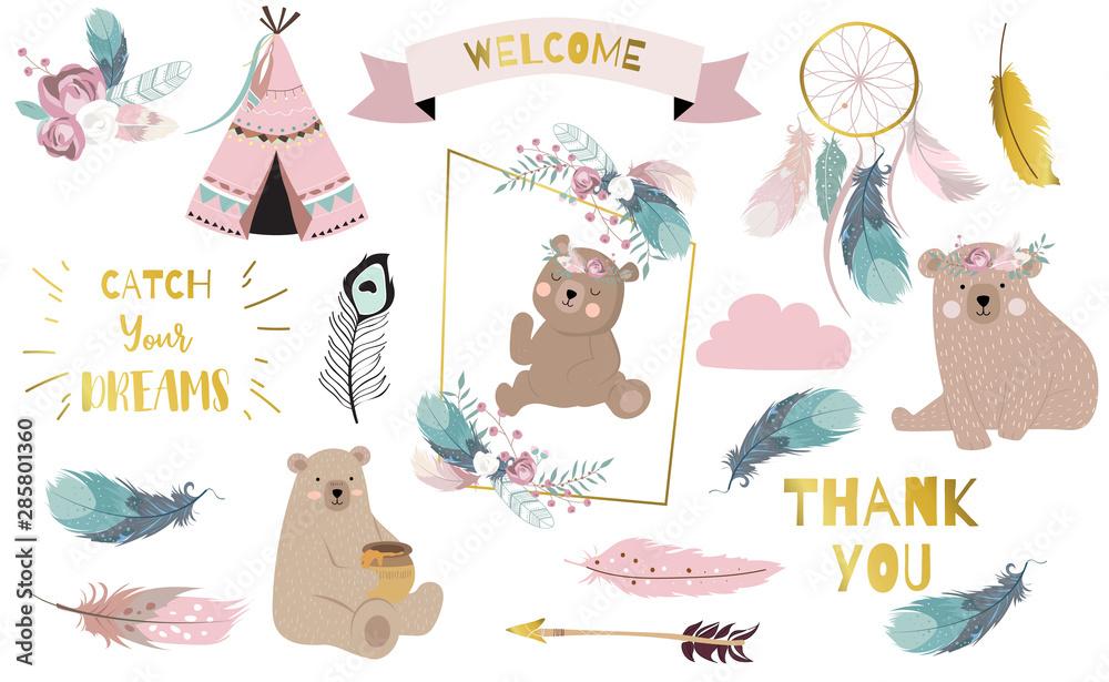 Fototapeta Bohemian animal object set with bear,dreamcatcher,feather,arrow,cloud. illustration for logo,sticker,postcard,birthday invitation.Editable element