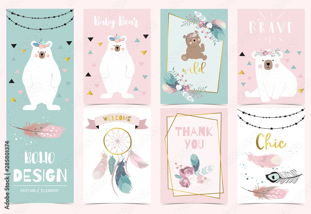 Fototapeta Collection of boho cards set with feather,dreamcatcher,bear.Vector illustration for birthday invitation,postcard and sticker.Editable element