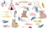 Fototapeta Fototapety na ścianę do pokoju dziecięcego - Bohemian animal object set with bear,dreamcatcher,feather,arrow,cloud. illustration for logo,sticker,postcard,birthday invitation.Editable element