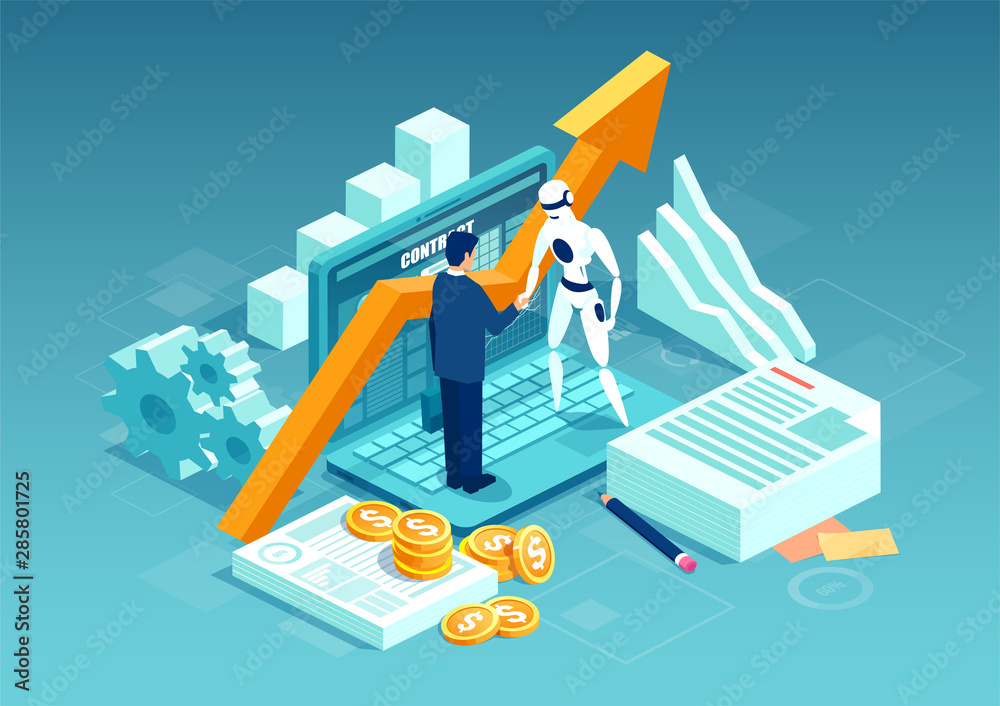 Fototapeta Vector of a businessman and a robot shaking hands standing on computer.