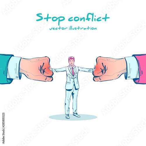 Cuadros en Lienzo Stop conflict sketch design