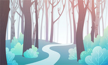 Landscape Of Forest Path In Spring With Blue Green Bushes And Pink Trees. Background Illustration In Vector.