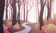 Landscape Of Forest Path With Bushes And Trees In Sepia Colors. Background Illustration In Vector.