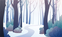 Landscape Of Forest Path In Winter With Frozen Bushes And Snow. Background Illustration In Vector.