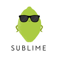 Vector Illustration Of A Cute Lime Wearing Sunglasses Standing In A Sassy Pose. Sublime. Funny Food Concept.