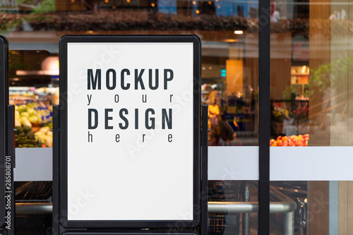 Mockup advertising board in front  of supermarket Canvas