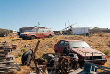 Wrecked Cars And Plane In The Island Of Patmos, Greece