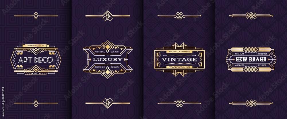 Fototapeta Art deco ornament invitation card. Vector illustration vintage decorative mockup in classic artdeco retro style. Gold luxury greeting pattern cards design