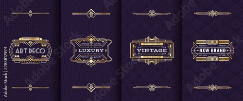 Art deco ornament invitation card. Vector illustration vintage decorative mockup in classic artdeco retro style. Gold luxury greeting pattern cards design