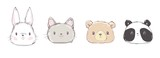 Cute Set Animals, Hand Drawn Cute Rabbit, Bear, Panda and Cat, Vector Illustration. Print Design. Cute Set Animals, Hand Drawn Cute Rabbit, Bear, Panda and Cat, Vector Illustration. Print Design.