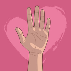 Hand up against a pink heart. Palm