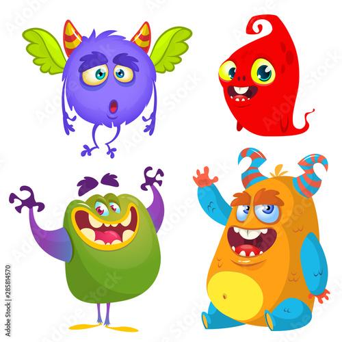 Canvas Print Funny cartoon monsters set. Halloween vector illustration