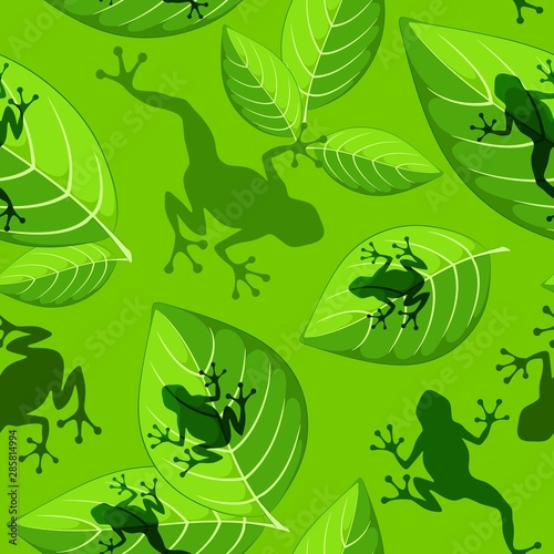 Foto auf AluDibond Ziehen Frog shapes on Green Leaves Vector Sesmless Textile Pattern Design