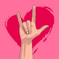 I Love You hand on the background of a pink heart. Hand gesture, I Love You. Valentine's day card with ILY on pink background.