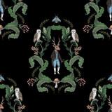 Bajkowy graficzny wzór z leśnych zwierząt i kwiatów. - 285816326