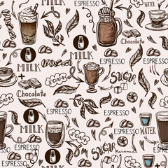 Seamless pattern with coffee cups. Vector.