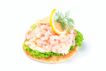 Traditional Savory Swedish Sandwich With Soft White Bread Vetekaka, Lettuce, Eggs, Mayonnaise, Shrimps, Dill And Lemon, Isolated On A White