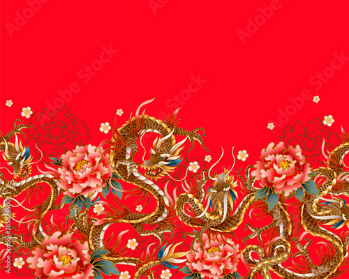 Border with Chinese traditional dragon, peonies and sakura Fotobehang