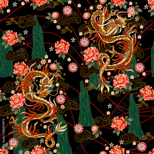 Seamless pattern with Chinese traditional dragon, peonies and sakura Wallpaper Mural