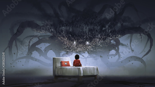 Spoed Foto op Canvas Grandfailure nightmare concept showing a boy on bed facing giant monster in the dark land, digital art style, illustration painting
