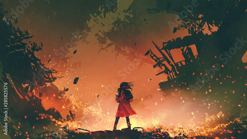 Printed kitchen splashbacks Grandfailure young mother in red coat carrying her baby standing in the burning city, digital art style, illustration painting