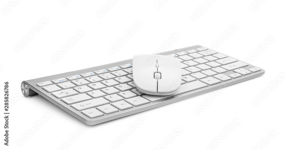 Fototapeta Computer keyboard with mouse on white.