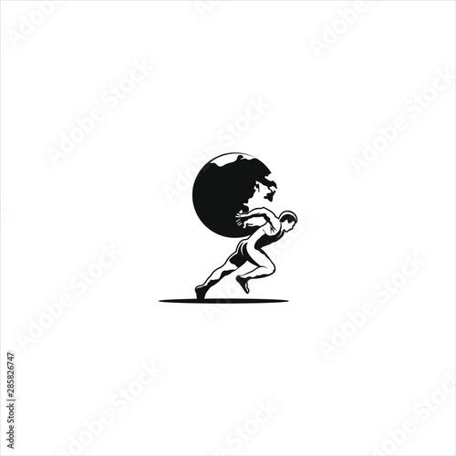 Cuadros en Lienzo Retro walking man carry earth globe vector illustration in black color