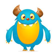 Funny Cartoon Monster. Vector Illustration