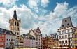 canvas print picture - Trier – Hauptmarkt mit Sankt Gangolf und Steipe im Sommer