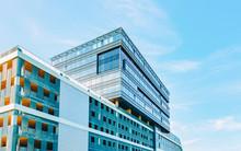 EU Modern Bank Building With Car Parking New Business Quarter