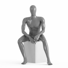 The Gray Mannequin Sits Forward. Rendering On A White Background