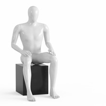 A White Faceless Mannequin Sits On A Black Box. Black And White Plastic 3D